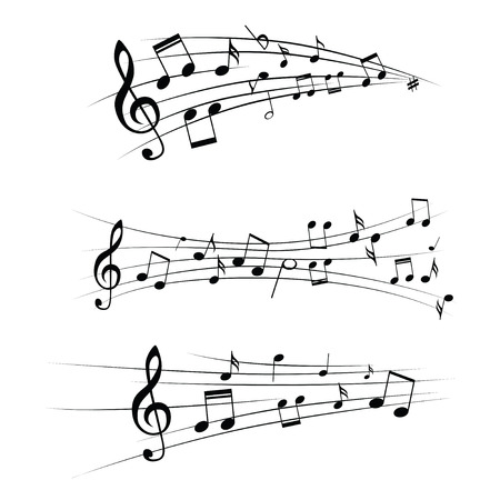 treble clef: Various music notes on stave, vector illustration