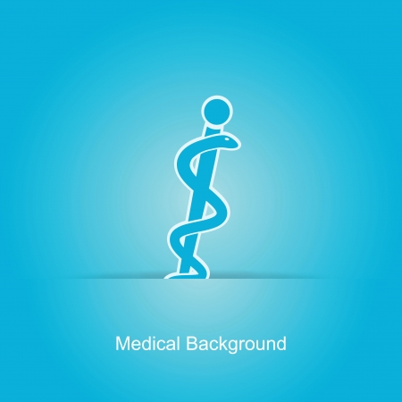 Blue vector medical background with caduceus snake Vector
