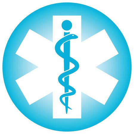 Caducée médical de symbole serpent avec un bâton (illustration vectorielle) Vecteurs