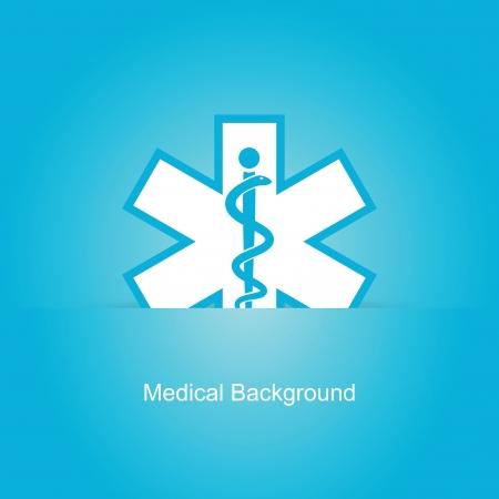 biomedical: Blue vector background medico con serpente caduceo