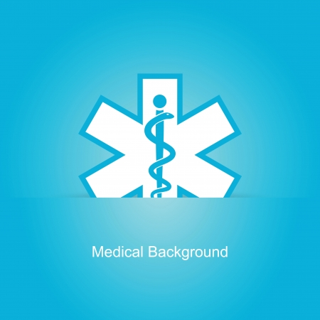 asclepius: Blue vector medical background with caduceus snake Illustration