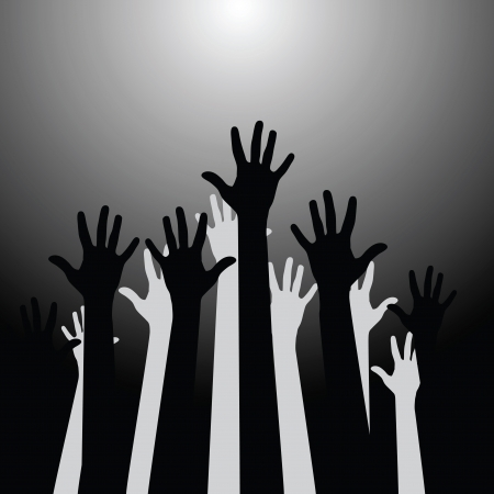 Group of hands up  Vector