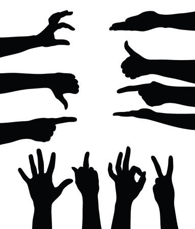 Set of hands silhouettes on white