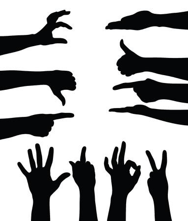 Set of hands silhouettes on white Zdjęcie Seryjne - 23075744