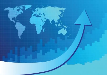 stockmarket chart: Arrow graph going up on blue background (Vector illustration) Illustration