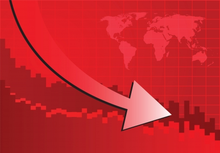 stockmarket chart: Arrow graph going down on red background (Vector illustration)