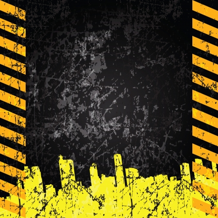 Vector grunge background with caution stripes and copy space Vector
