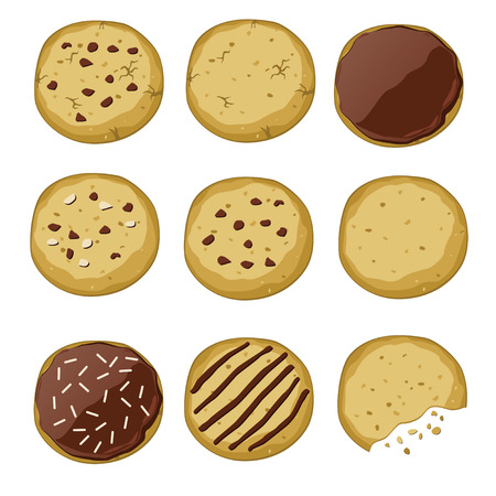 Set of different cookies (vector illustration) Çizim