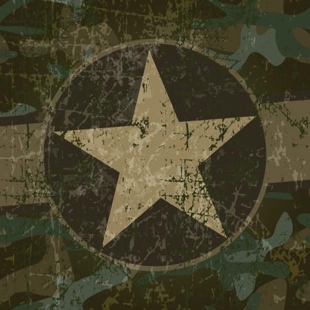 ster: Militaire achtergrond met kopie ruimte en ster Stock Illustratie