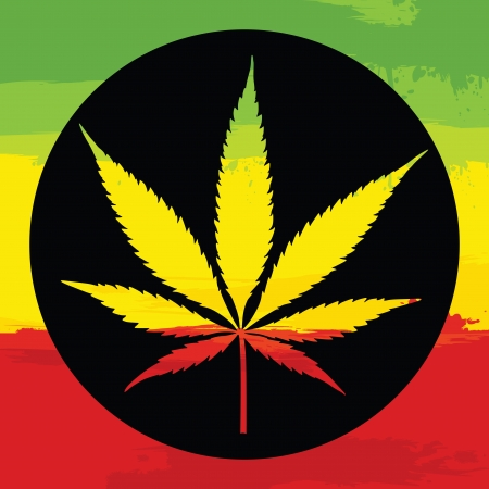 Marijuana leaf illustration with rastafarian colors