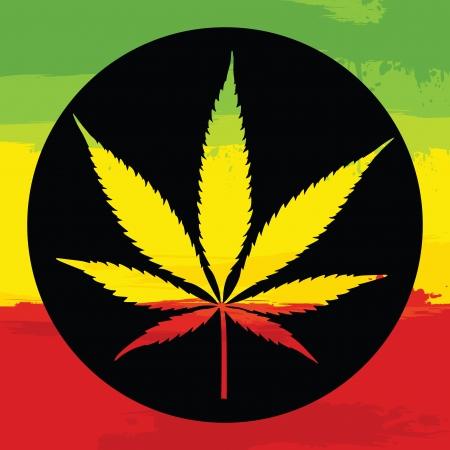 jamaican: Marijuana leaf illustration with rastafarian colors