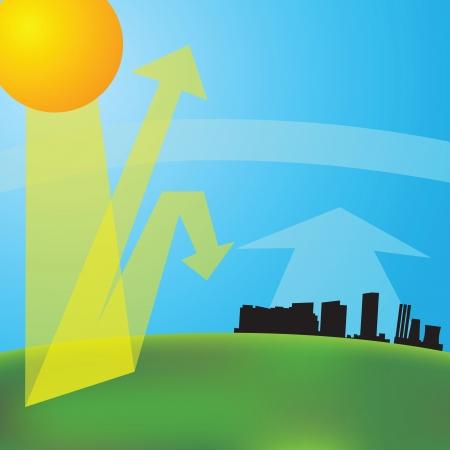 invernadero: efecto invernadero (ilustraci�n vectorial). El calentamiento global.