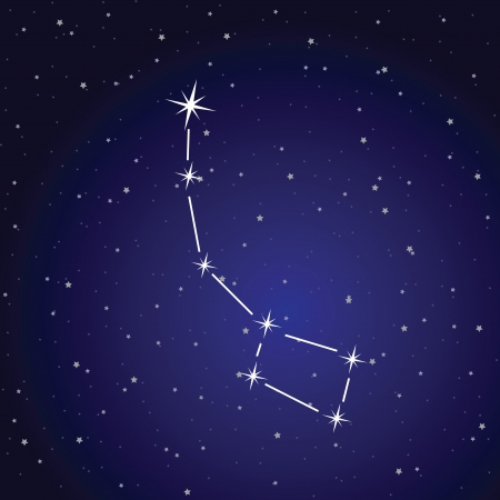 Vector illustration of ursa minor constellation and pole star. Vector