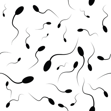 sex chromosomes: Spermatozoons as a background. Vector illustration.