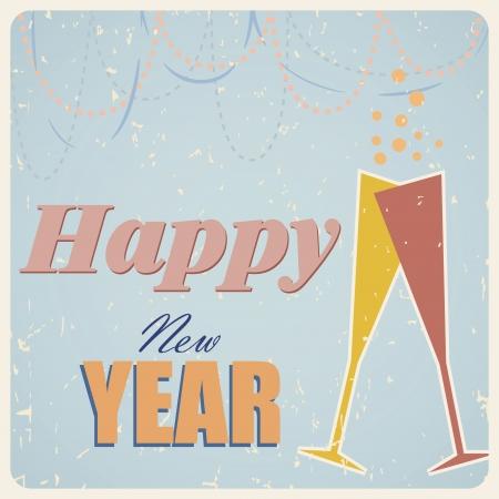 champaign: Retro happy new year card illustration