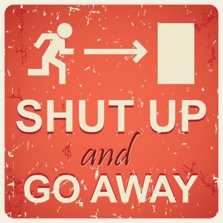 slang: Shut up sign illustration