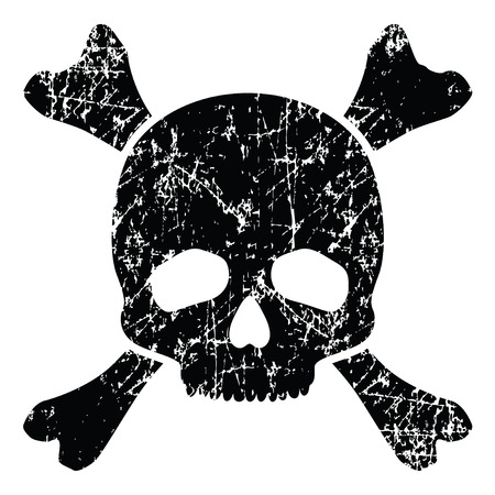 emo: Grunge skull isolated on white illustration