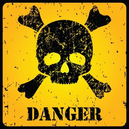 panneaux danger: Signe de danger jaune avec le cr�ne illustration