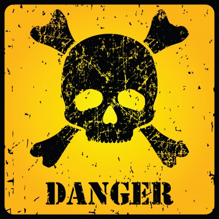 punk: Yellow danger sign with skull illustration