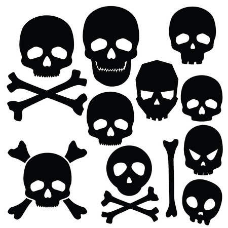 crossbones: Collection of skulls isolated on white  Illustration