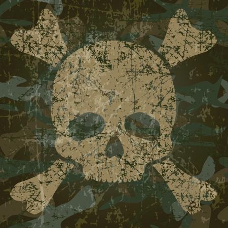 Militaire textuur met doodshoofd en gekruiste botten illustratie Stock Illustratie