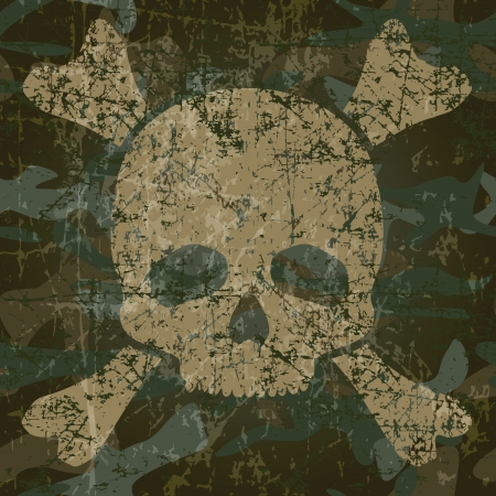 camouflage pattern: Military texture with skull and crossbones illustration
