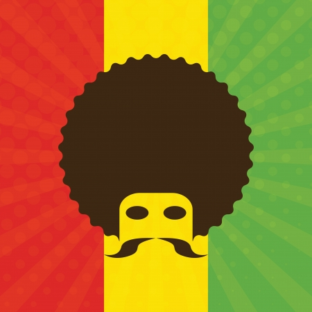 man with afro and flag of Ethiopia in background (vector illustration) Illustration