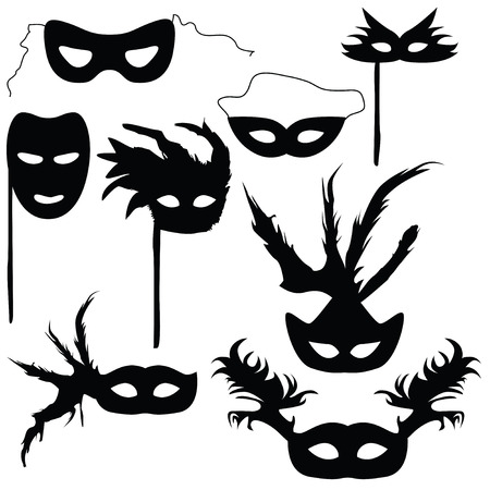 theatre masks: Collection of silhouettes carnival masks (vector illustration) Illustration