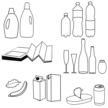 Collection of trash icon Vector