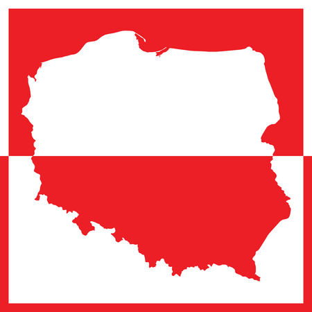 poland flag: Map of Poland in white and red color (vector illustration) Illustration