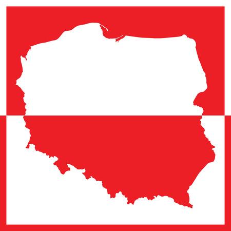bandera de polonia: Mapa de Polonia en colores blanco y rojo (ilustración vectorial) Vectores