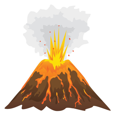 erupting: Volcano isolated on white background (vector illustration)