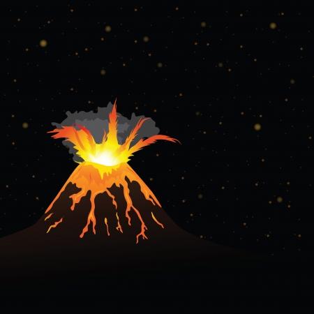 erupting volcano: volcano erupting and night sky in background (vector illustration)
