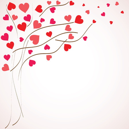 vector hearts: Valentines day background. Tree with hearts (vector illustration) Illustration