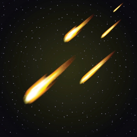 armageddon: Meteor shower and dark space in background (vector illustration)
