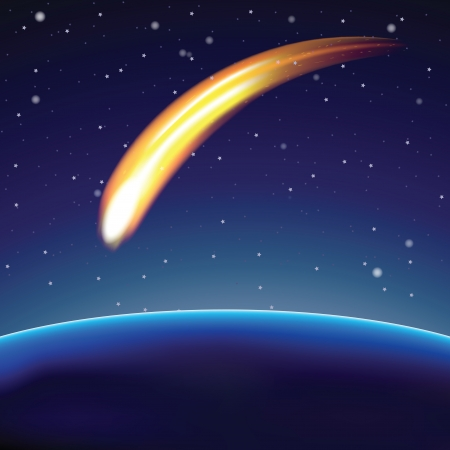 Meteor and globe in space (vector illustration) Vector