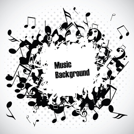 g clef: Abstract music background with notes, vector illustration Illustration