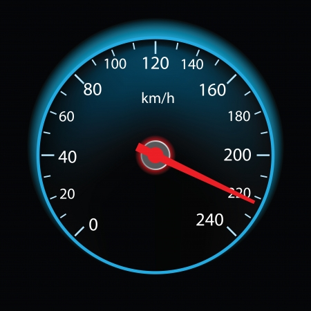 kilometer: Speedometer on black background (vector illustration)