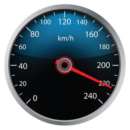 velocímetro: Velocímetro sobre fondo blanco (ilustración vectorial)
