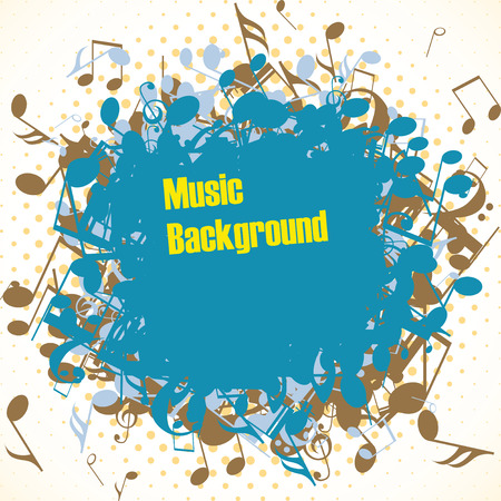alt: Abstract music background with notes, vector illustration Illustration