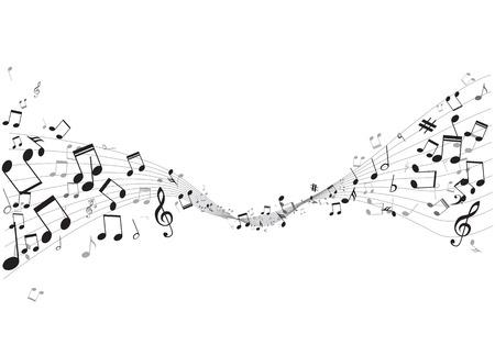 clave de fa: Varias notas de música en pentagrama, ilustración vectorial