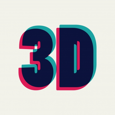 chromatic: 3D symbol with chromatic aberration, vector illustration Illustration