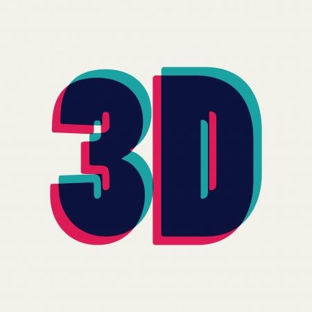 chromatique: Symbole 3D avec l'aberration chromatique, illustration vectorielle