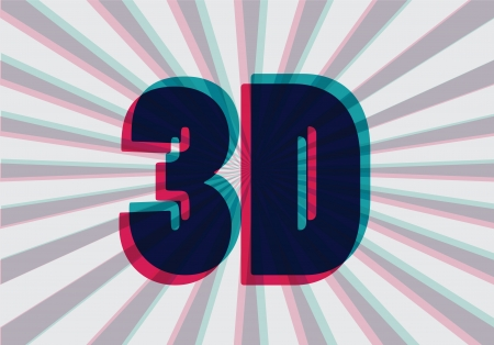 3 d glasses: 3D symbol with chromatic aberration, vector illustration Illustration