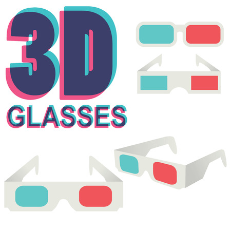 3 d glasses: collection of 3d glasses isolated on white, vector illustration