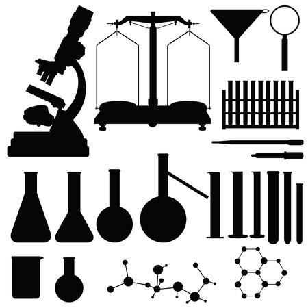 balanza de laboratorio: Conjunto de siluetas de laboratorio, ilustración vectorial