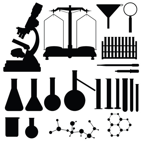 Set of laboratory silhouettes, vector illustration Vector