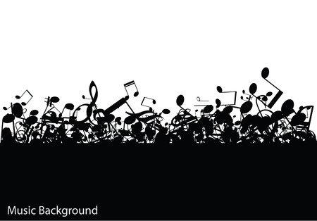 Abstract music with notes, vector illustration