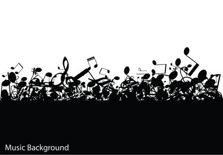 clave de fa: Música de fondo con notas, ilustración vectorial Vectores