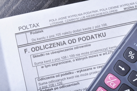 tax form: Polish tax form (PIT-36) and calculator Stock Photo